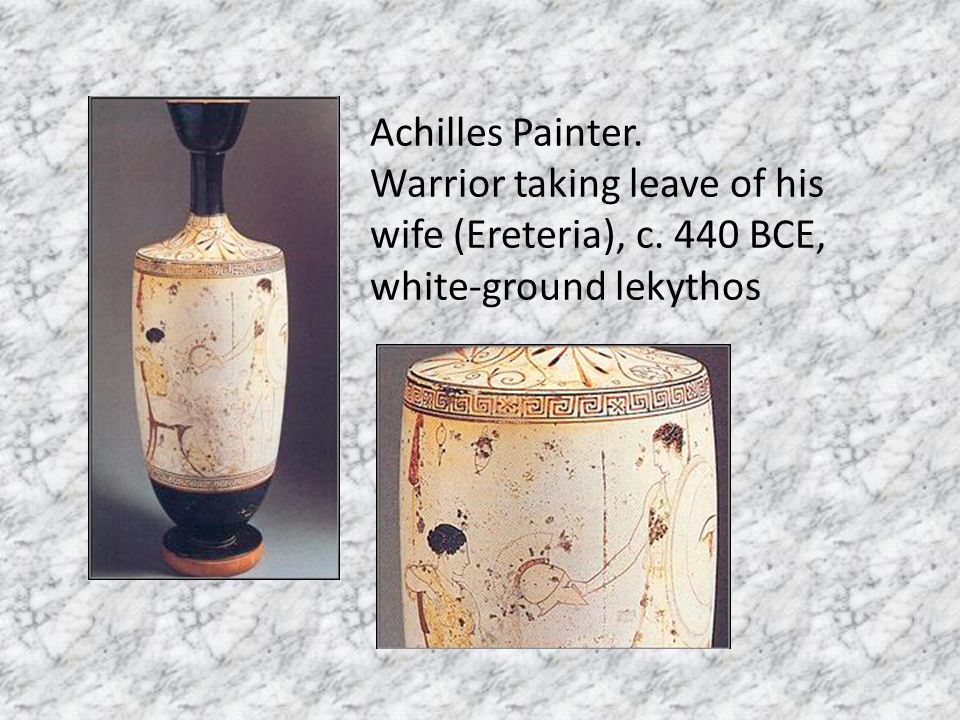 Achilles Painter. Warrior taking leave of his wife (Ereteria), c. 440 BCE, white-ground lekythos