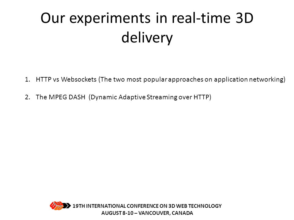 Our experiments in real-time 3D delivery