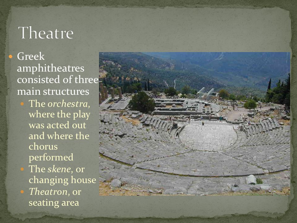 Theatre Greek amphitheatres consisted of three main structures