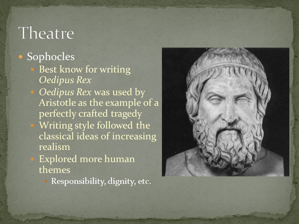 Theatre Sophocles Best know for writing Oedipus Rex