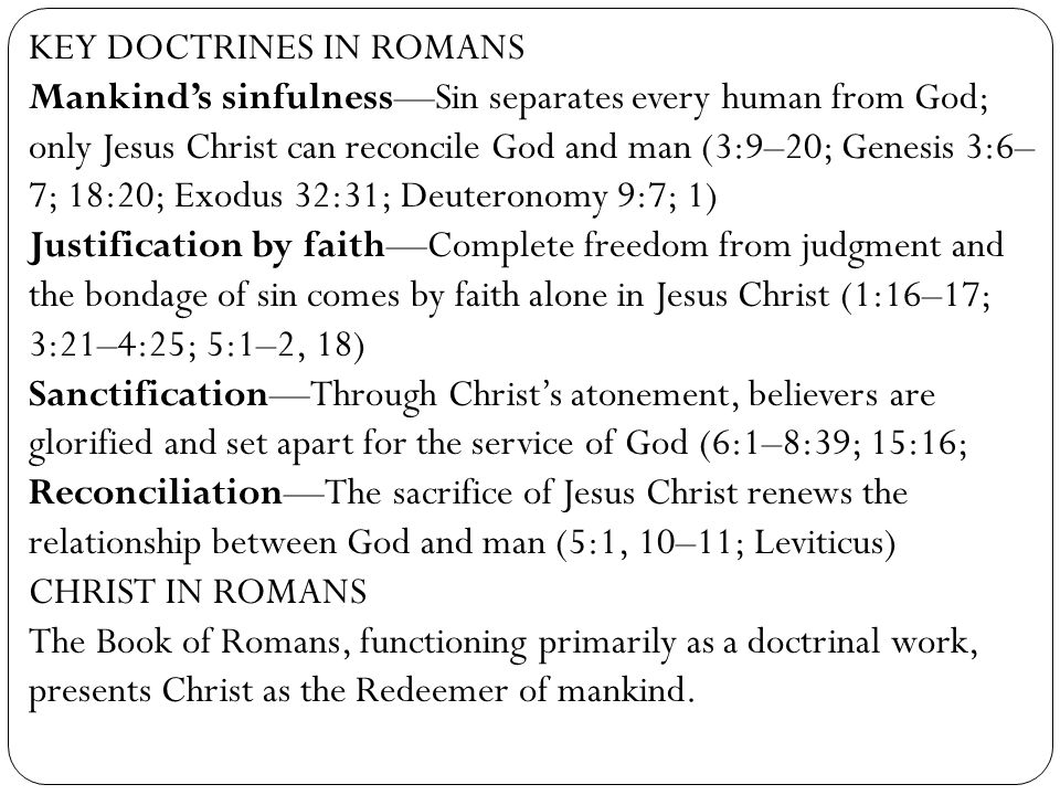 KEY DOCTRINES IN ROMANS