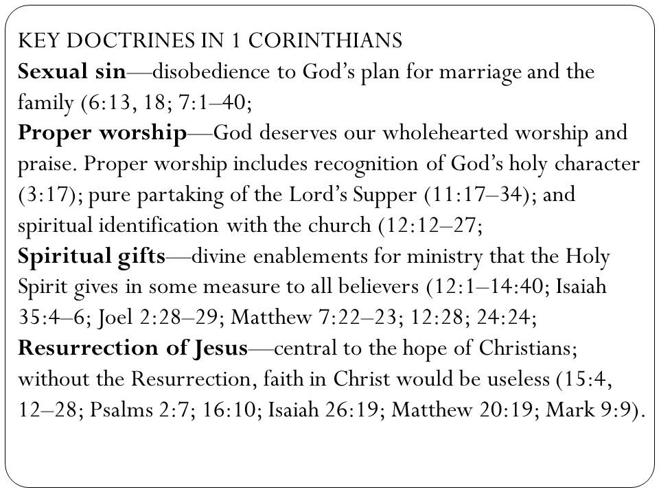 KEY DOCTRINES IN 1 CORINTHIANS