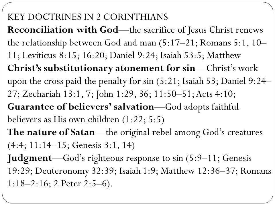 KEY DOCTRINES IN 2 CORINTHIANS