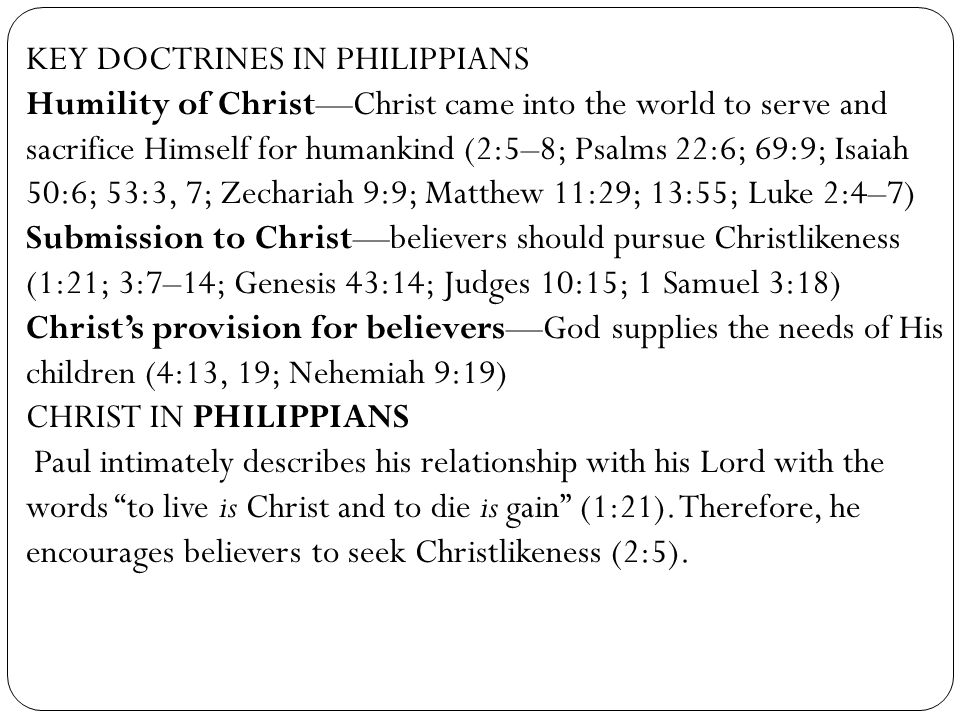 KEY DOCTRINES IN PHILIPPIANS