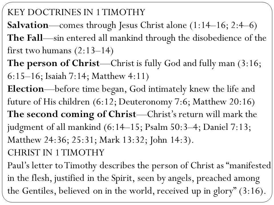 KEY DOCTRINES IN 1 TIMOTHY
