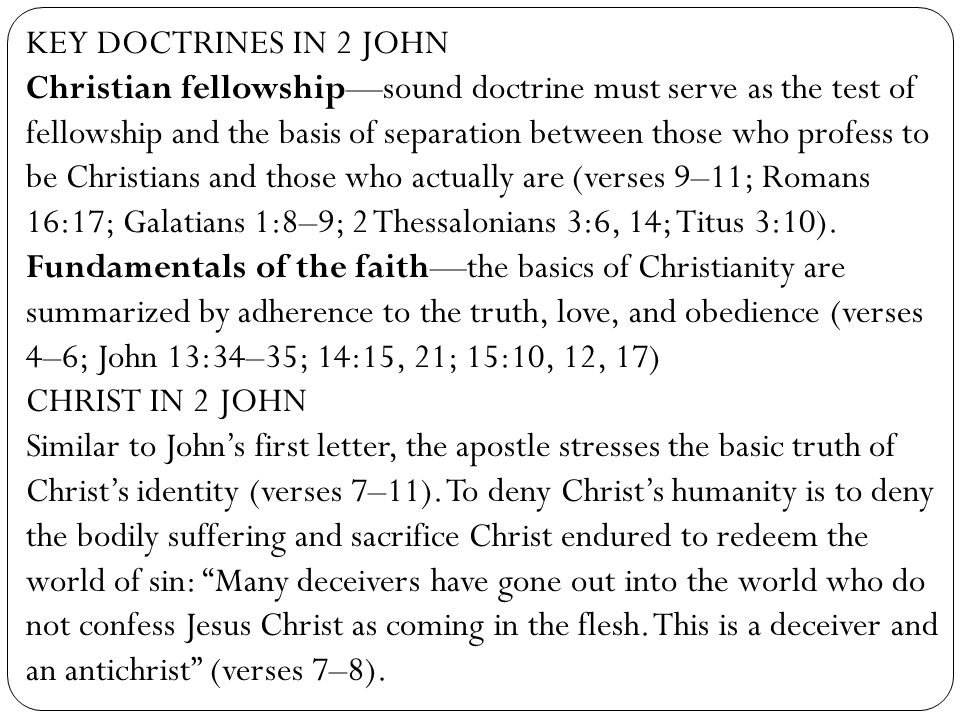 KEY DOCTRINES IN 2 JOHN