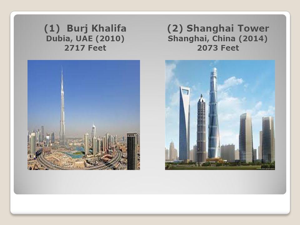(1) Burj Khalifa (2) Shanghai Tower