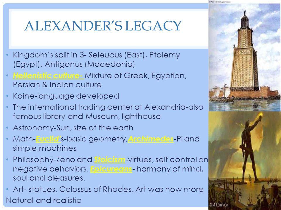 Alexander's Legacy Kingdom's split in 3- Seleucus (East), Ptolemy (Egypt), Antigonus (Macedonia)