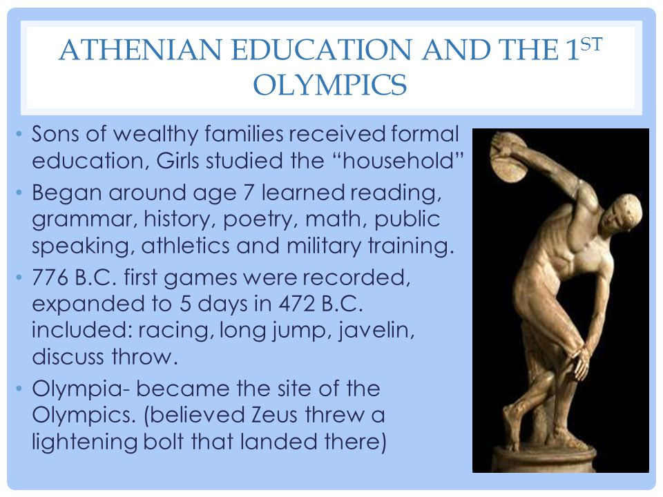 Athenian Education and the 1st Olympics