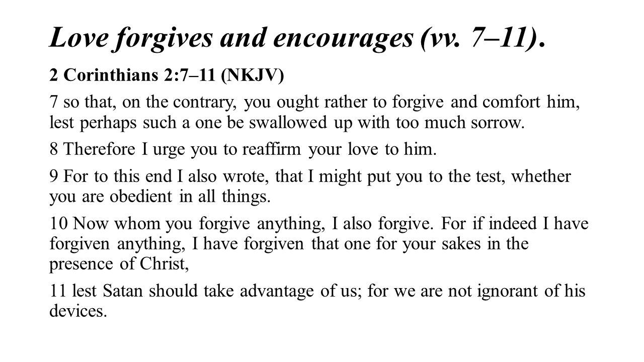 Love forgives and encourages (vv. 7–11).