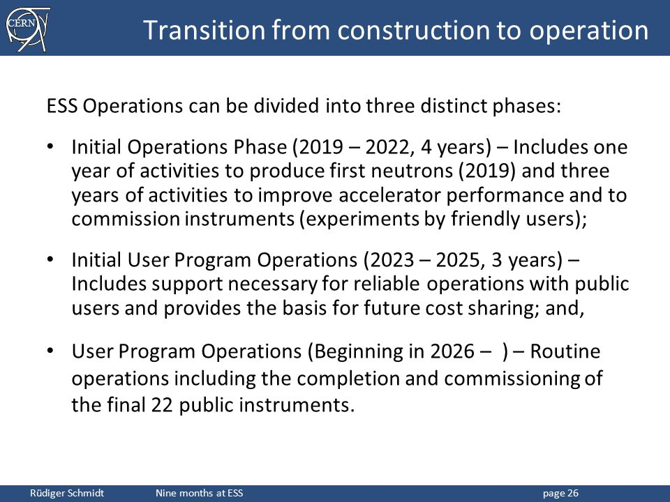 Transition from construction to operation