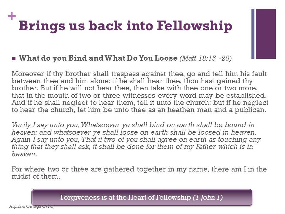 Brings us back into Fellowship