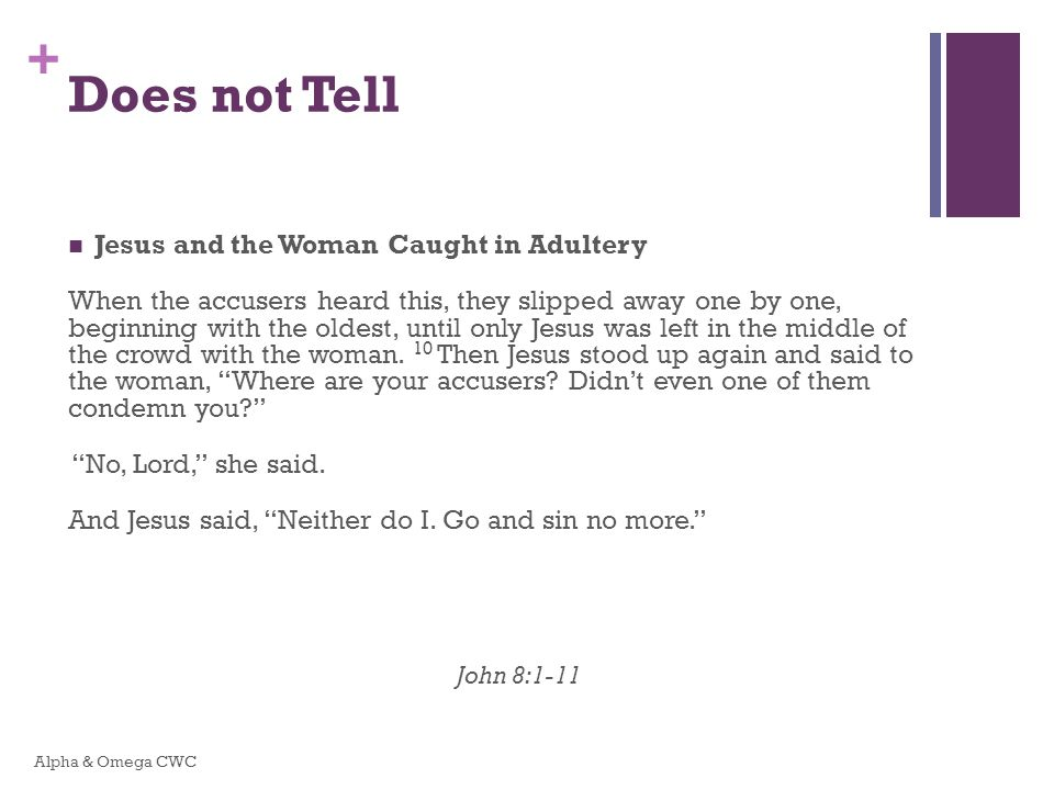Does not Tell Jesus and the Woman Caught in Adultery