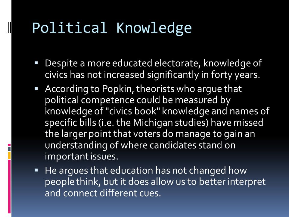Political Knowledge Despite a more educated electorate, knowledge of civics has not increased significantly in forty years.