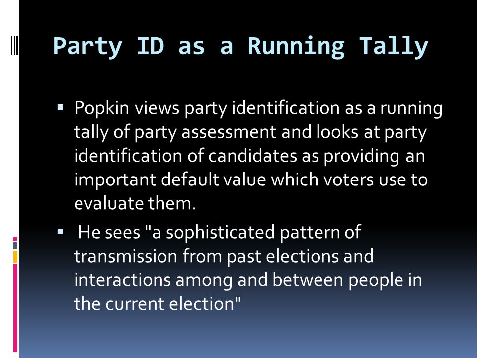 Party ID as a Running Tally