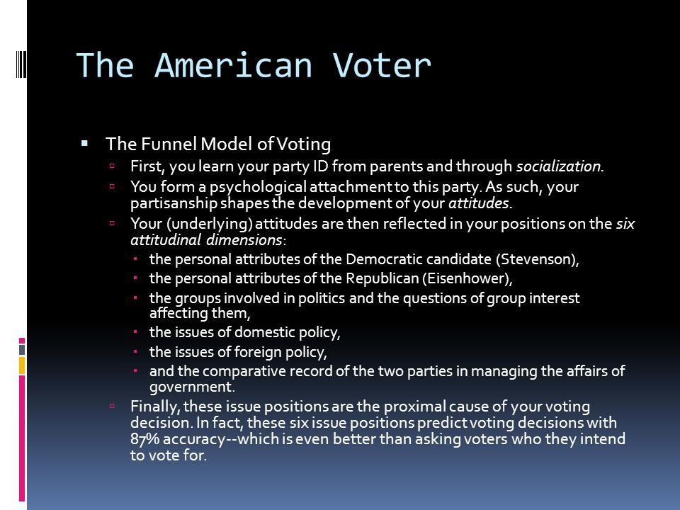 The American Voter The Funnel Model of Voting