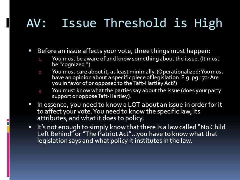AV: Issue Threshold is High