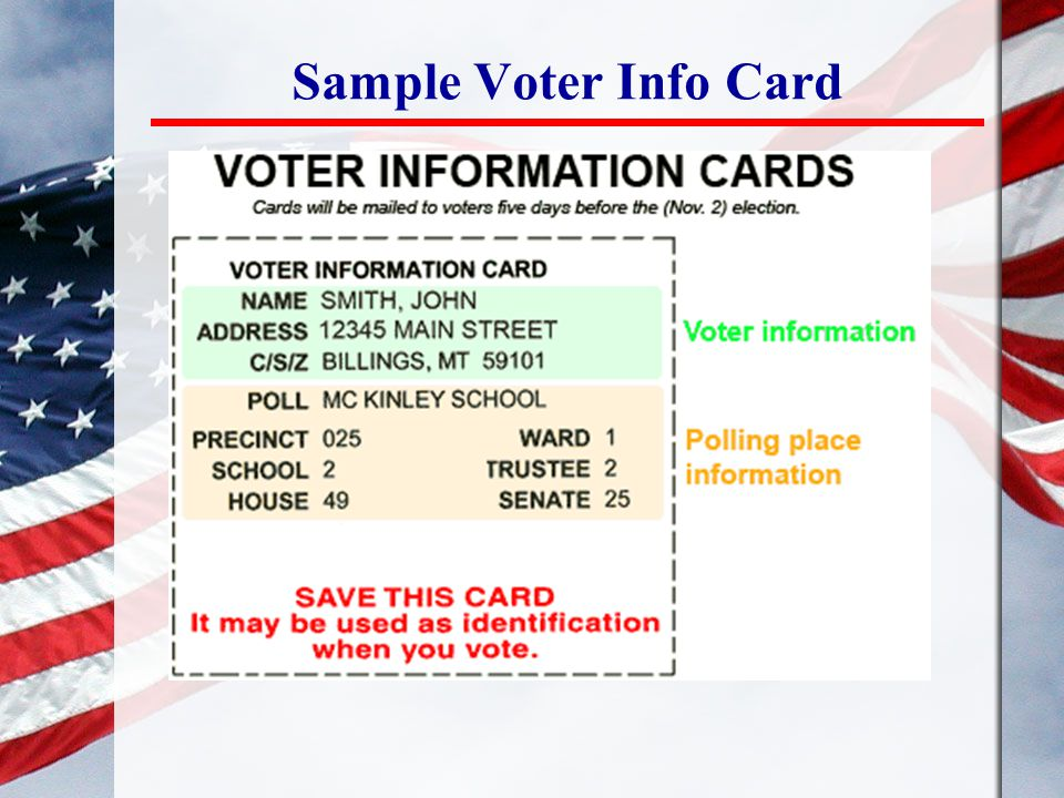 Sample Voter Info Card