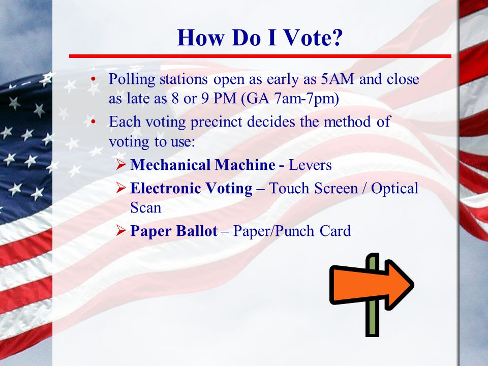 How Do I Vote Polling stations open as early as 5AM and close as late as 8 or 9 PM (GA 7am-7pm)