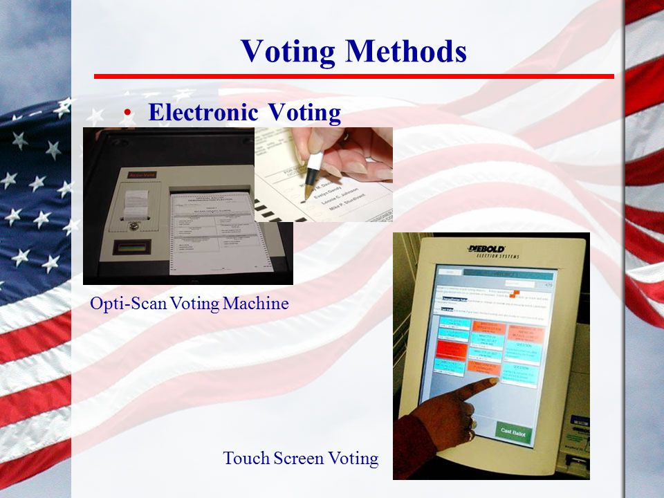 Voting Methods Electronic Voting Opti-Scan Voting Machine