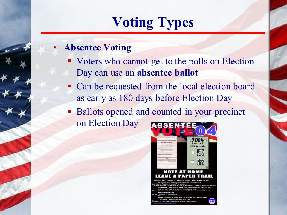 Voting Types Absentee Voting
