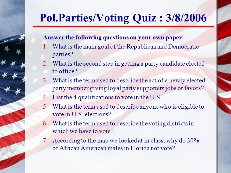Pol.Parties/Voting Quiz : 3/8/2006