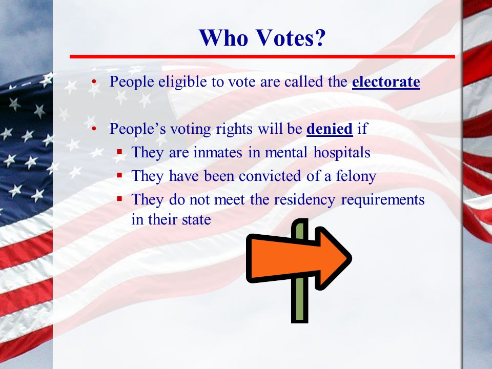 Who Votes People eligible to vote are called the electorate