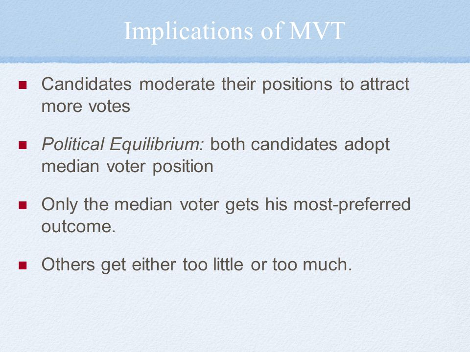 Implications of MVT Candidates moderate their positions to attract more votes. Political Equilibrium: both candidates adopt median voter position.
