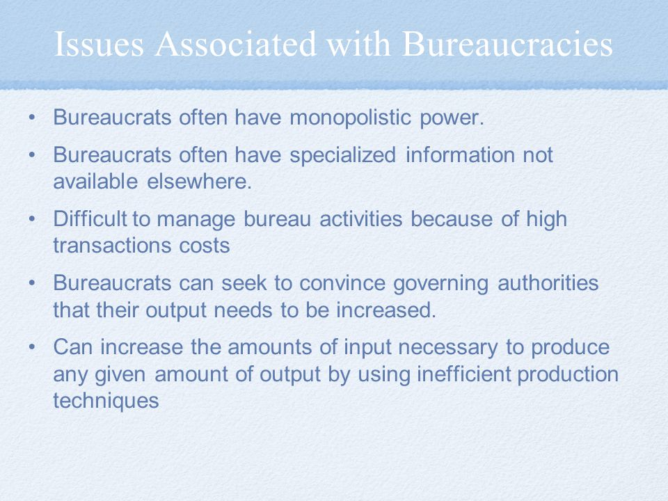Issues Associated with Bureaucracies