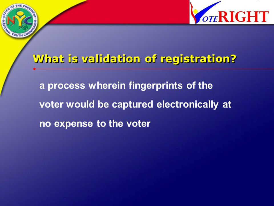 What is validation of registration