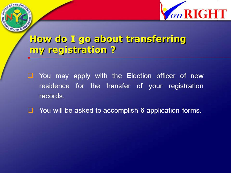 How do I go about transferring my registration