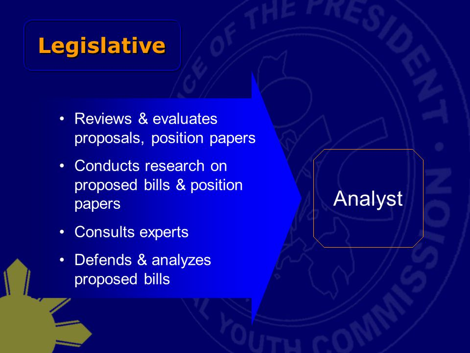Legislative Analyst Reviews & evaluates proposals, position papers