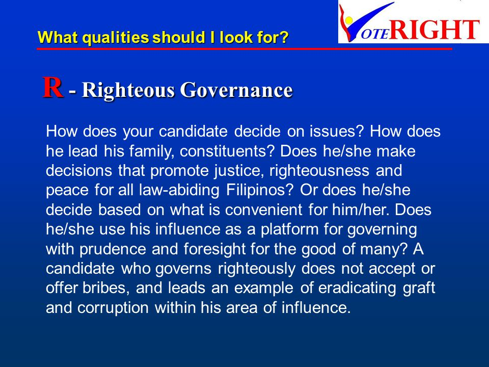 R - Righteous Governance