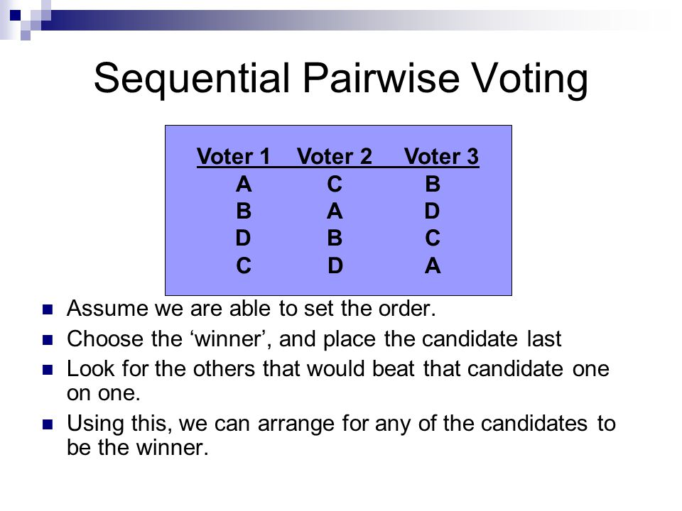 Sequential Pairwise Voting