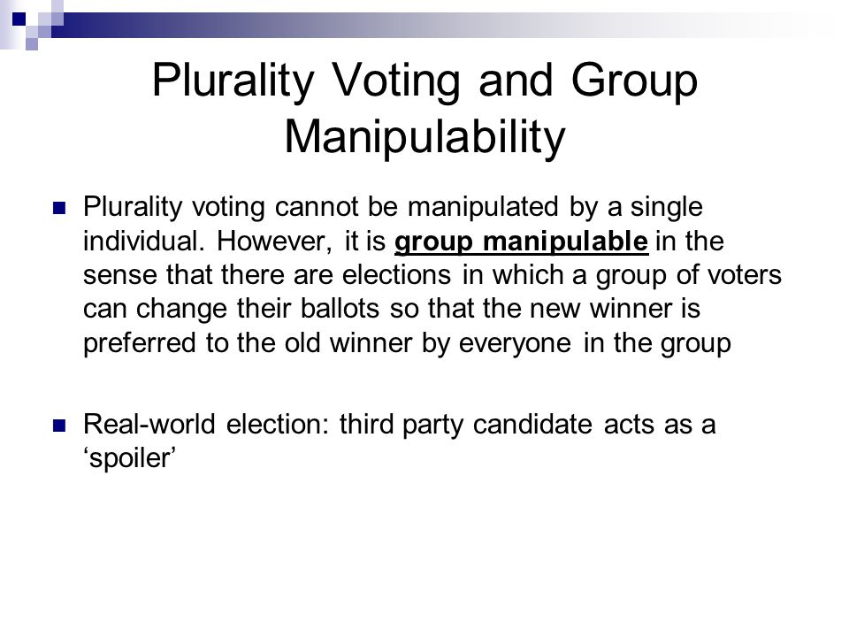 Plurality Voting and Group Manipulability