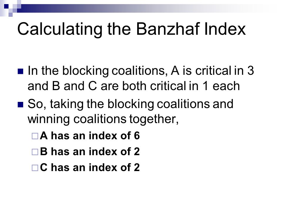 Calculating the Banzhaf Index