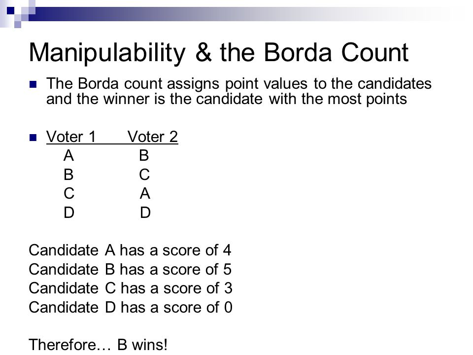 Manipulability & the Borda Count