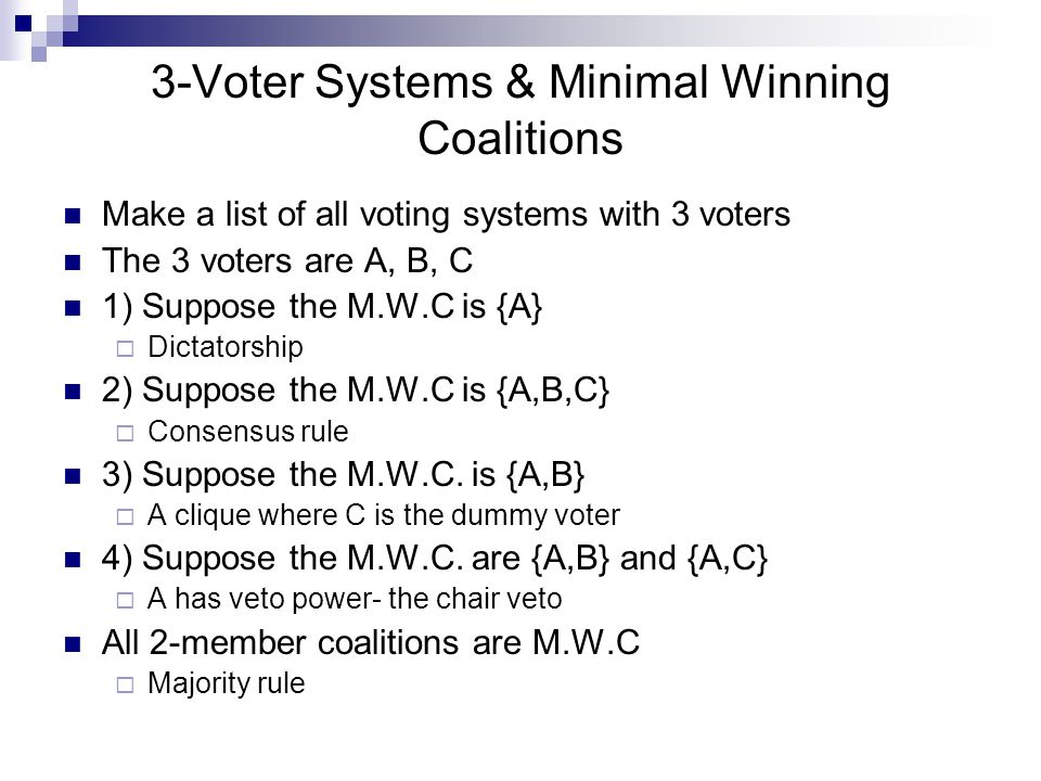 3-Voter Systems & Minimal Winning Coalitions