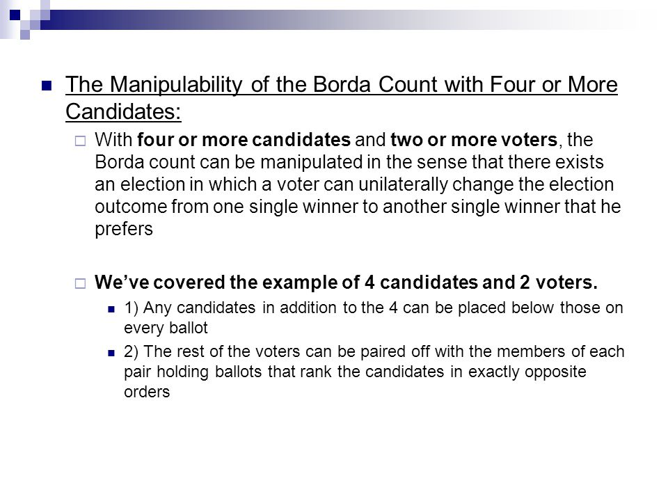 The Manipulability of the Borda Count with Four or More Candidates: