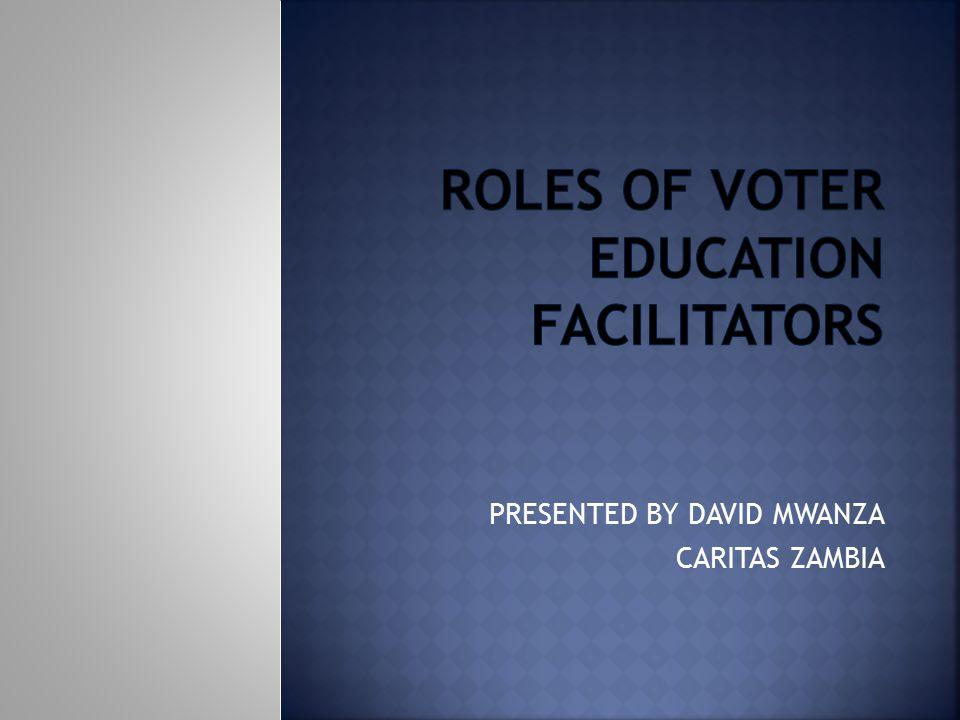 ROLES OF VOTER EDUCATION FACILITATORS