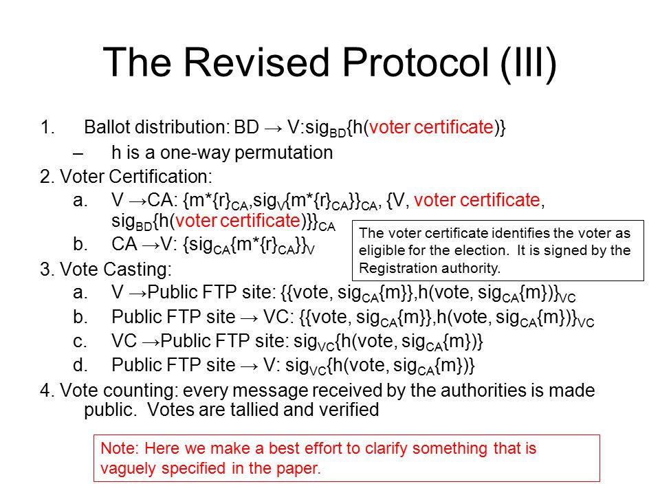 The Revised Protocol (III)
