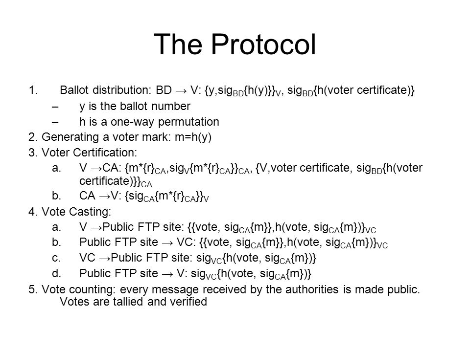 The Protocol Ballot distribution: BD → V: {y,sigBD{h(y)}}V, sigBD{h(voter certificate)} y is the ballot number.