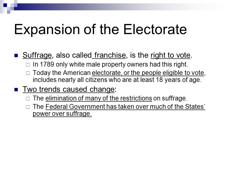 Expansion of the Electorate