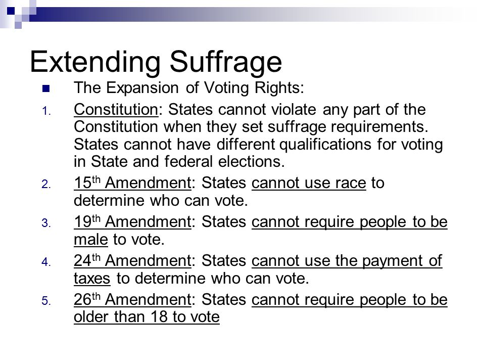 Extending Suffrage The Expansion of Voting Rights: