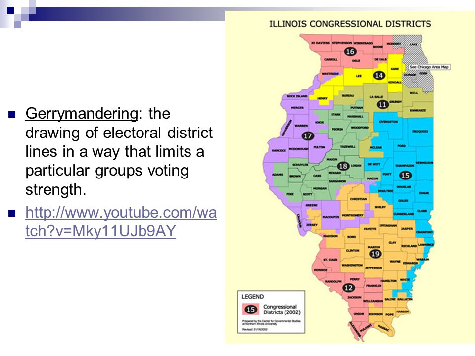 Gerrymandering: the drawing of electoral district lines in a way that limits a particular groups voting strength.