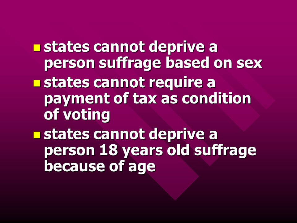 states cannot deprive a person suffrage based on sex