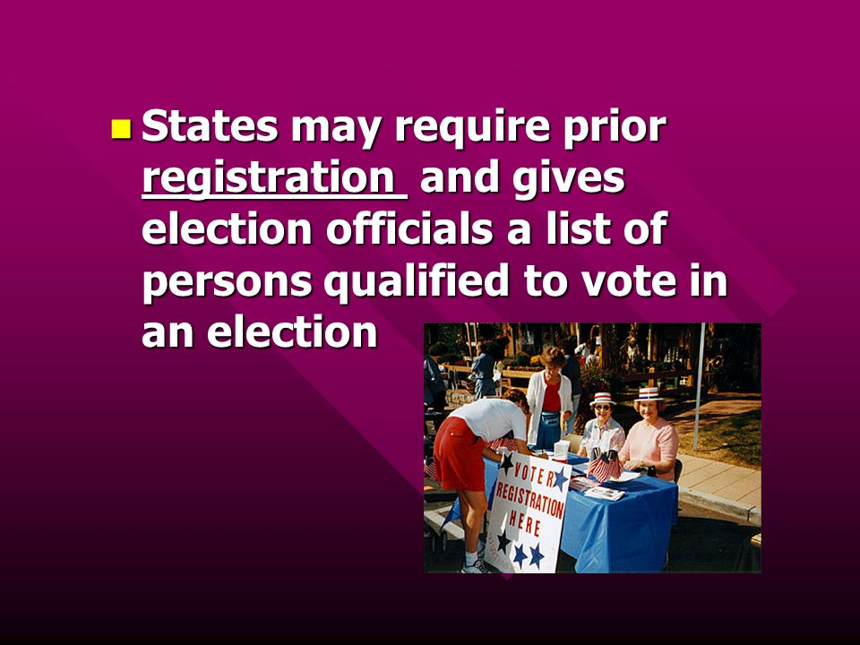 States may require prior registration and gives election officials a list of persons qualified to vote in an election