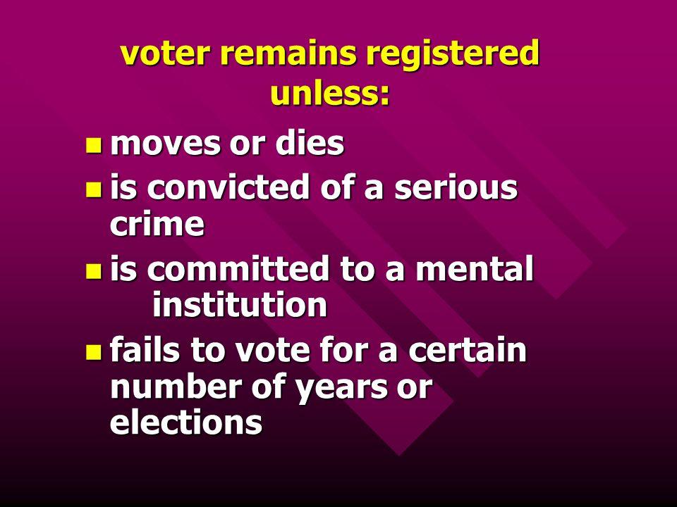 voter remains registered unless: