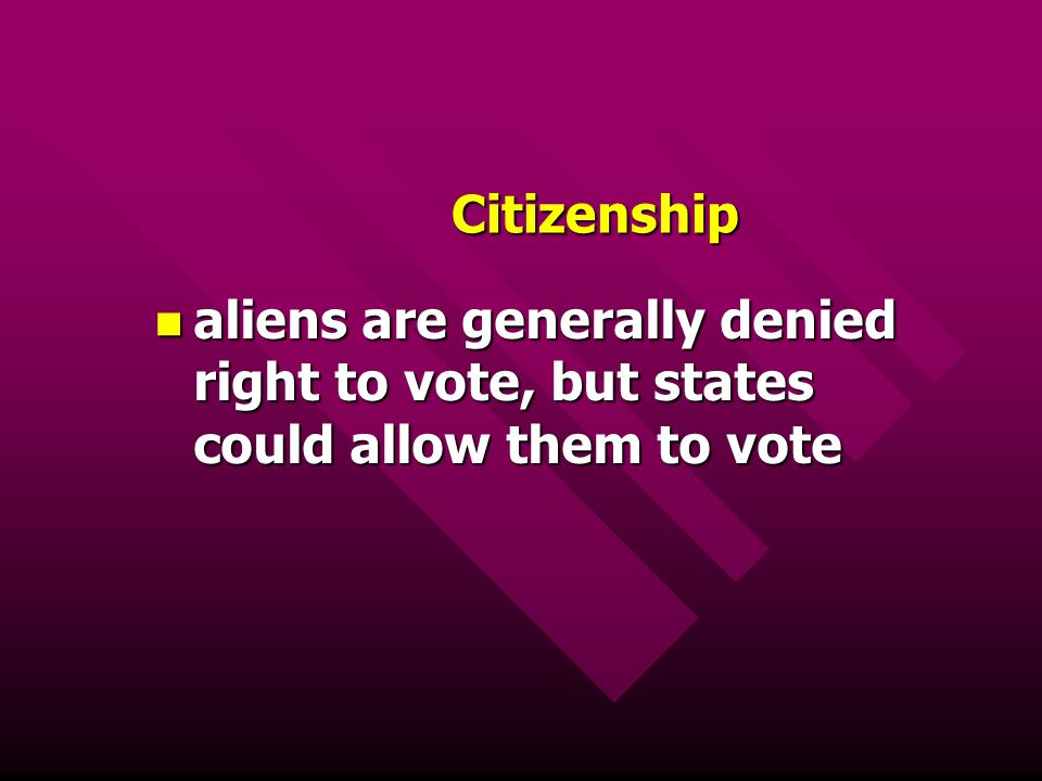 Citizenship aliens are generally denied right to vote, but states could allow them to vote