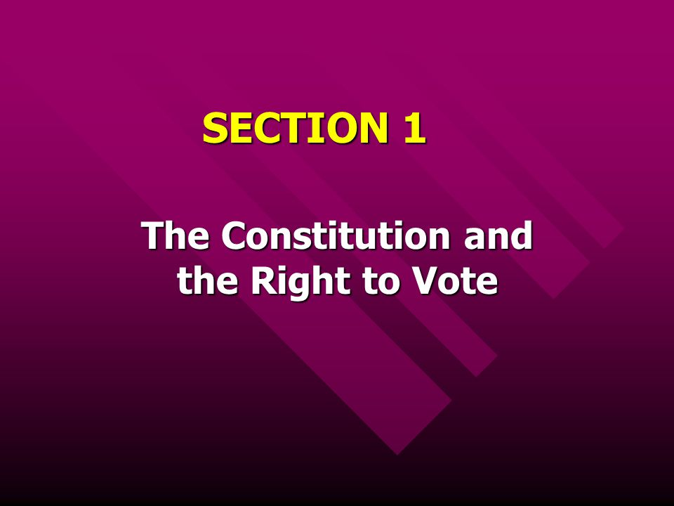 The Constitution and the Right to Vote